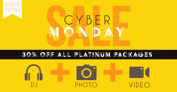 Cyber Monday 2019 sale GIF image for Wedding DJ Plus, Wedding DJ discount, Wedding Photography discount, Wedding Video Cinema discount