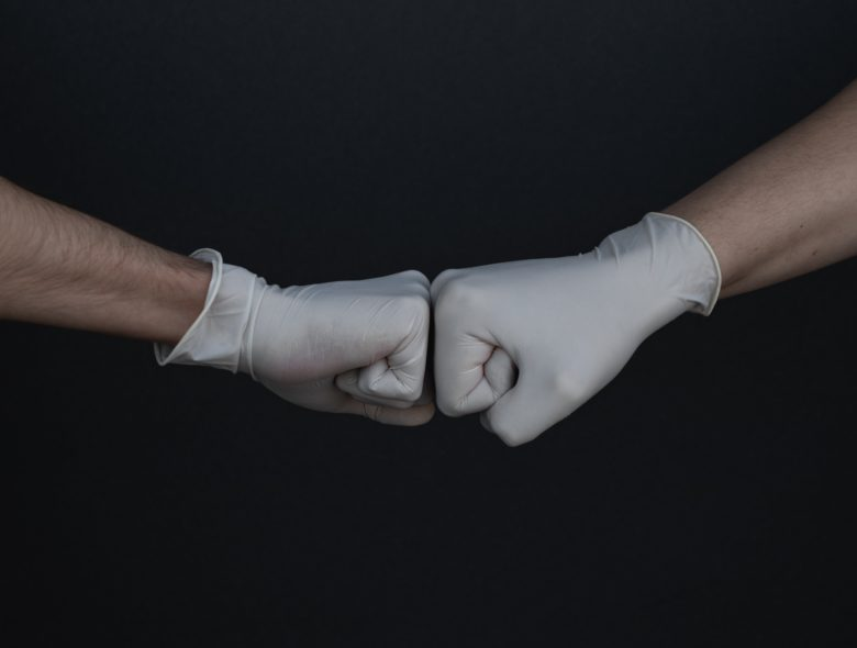 rubber glove, fist bump, greeting, agreement,